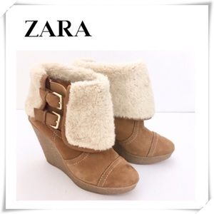 Zara Crepe Fur Wedge Boot Camel Tan Brown